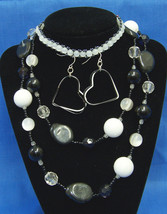 Jewelry Set Black White Beaded Necklace & Anklet Heart Dangle Earrings Lot of 3 - $12.86