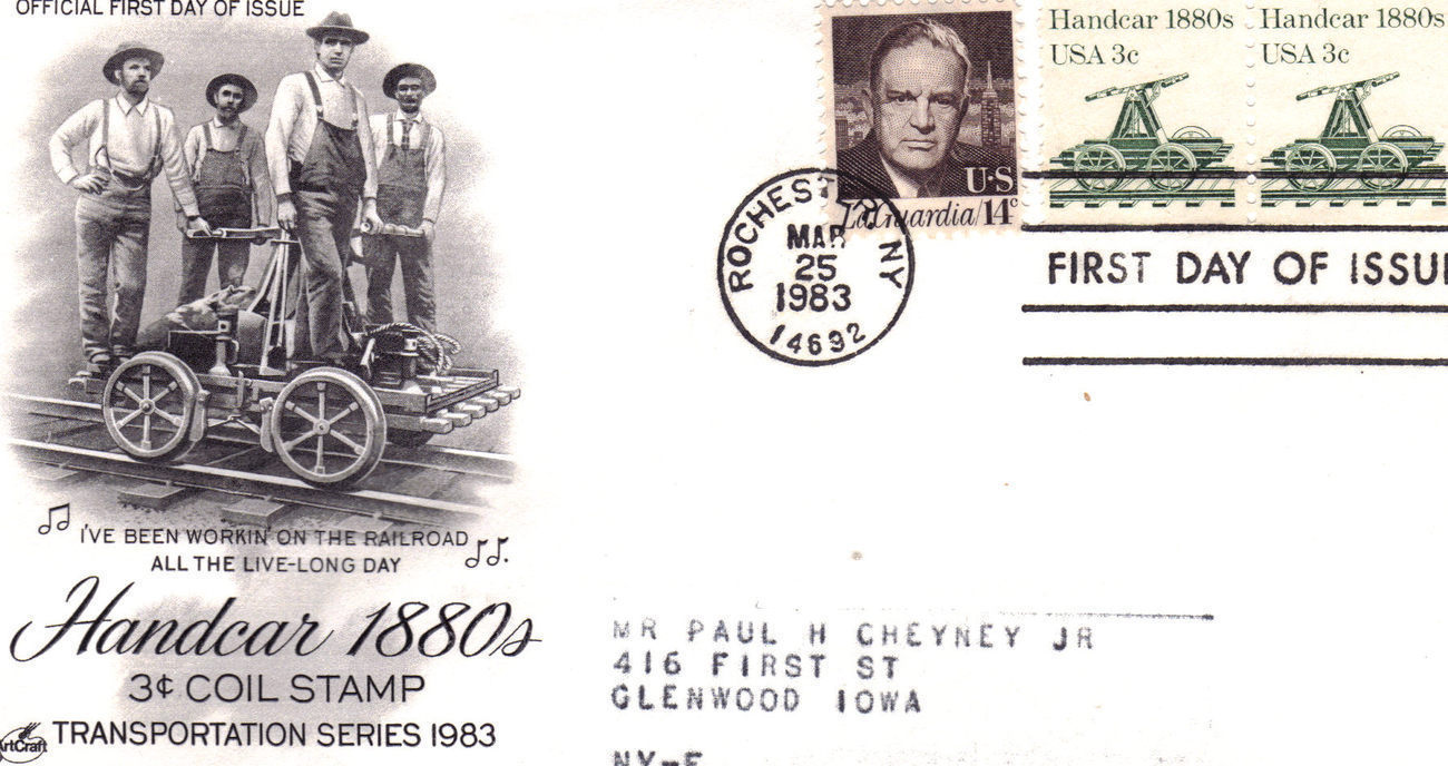 HANDCAR 1880S 3c. COIL STAMP First Day Cover