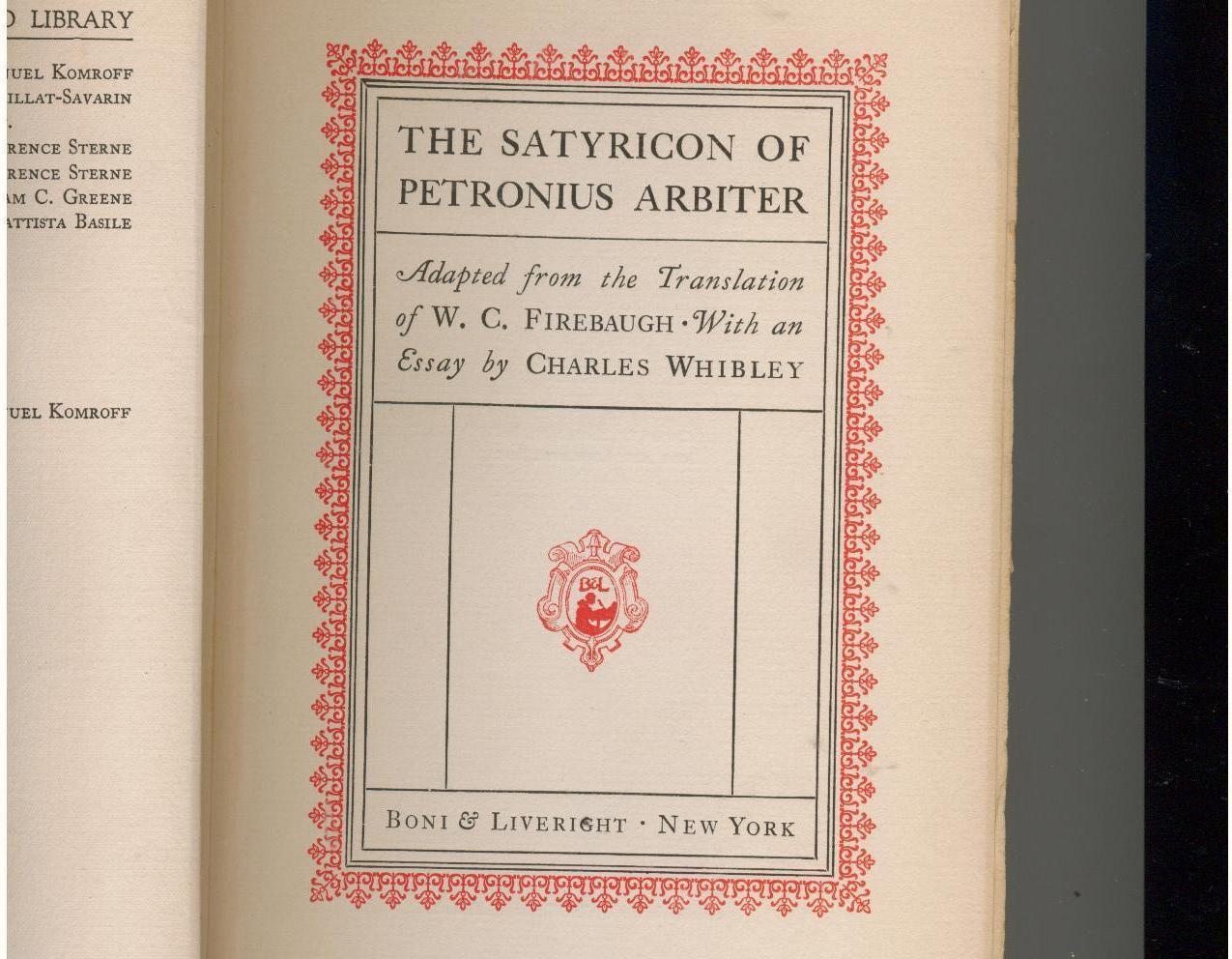 SATYRICON OF PETRONIUS ARBITER  1927  1st Trade Edition
