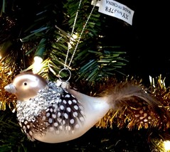 Christmas Ornament Glass Winter Bird w/ Real Feathers New - $12.82
