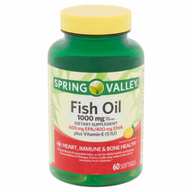 Spring Valley Fish Oil Softgels, 1000 Mg, 60 Ct - $25.02
