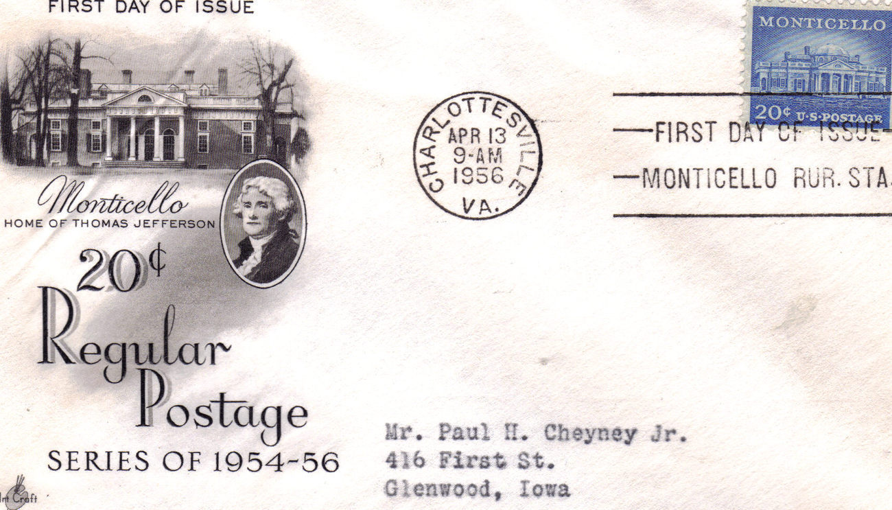 MONTICELLO 20 c. Regular Postage 1954-56 First Day Cover