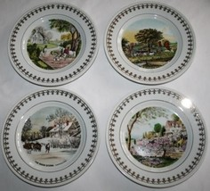 CURRIER & IVES -Four Seasons Revisited- 1981 Collector Plates Set/4 #1156 - $38.00