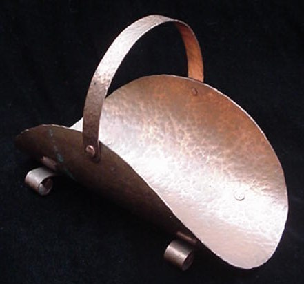 Old Arts & Crafts Copper Small Hammered Copper Wood Basket