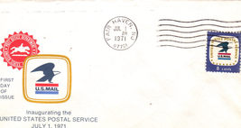 US POSTAL OFFICE JULY 1ST 1971 First Day Cover - $3.95