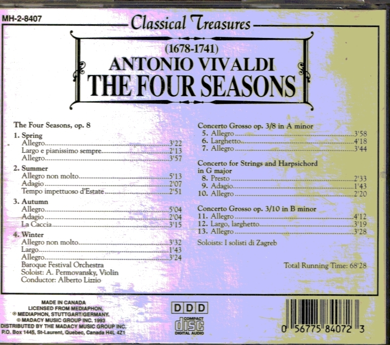 CD Antonio Vivaldi Four Seasons Classical Music
