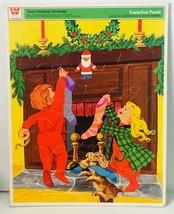 Vintage 1973 Whitman Three Christmas Stockings Frame Tray Puzzle No. 4528 Kids - $16.94