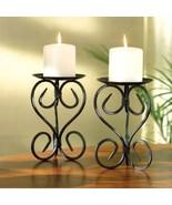 Iron Scroll Pillar Candle Holders - $20.00
