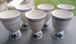 6 VINTAGE OLDER Adams Baltic Blue Ironstone Egg Cups - $79.99
