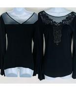 VENUS Women's size S Black Long Bell Sleeved Mesh Neckline Lace Front Top - $18.80