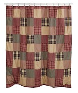 RUTHERFORD Shower Curtain Burgundy & Tan Plaid Primitive Farmhouse Bath ... - $59.39