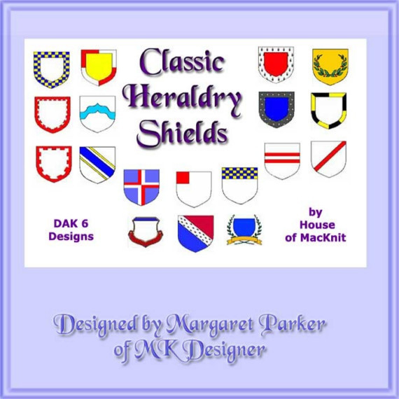 Classic Heraldry Shields Machine Knit DAK or Hand Knit Graphs ePatterns