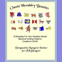 18 Classic Heraldry Beasties Machine Knit Desig... - $3.00