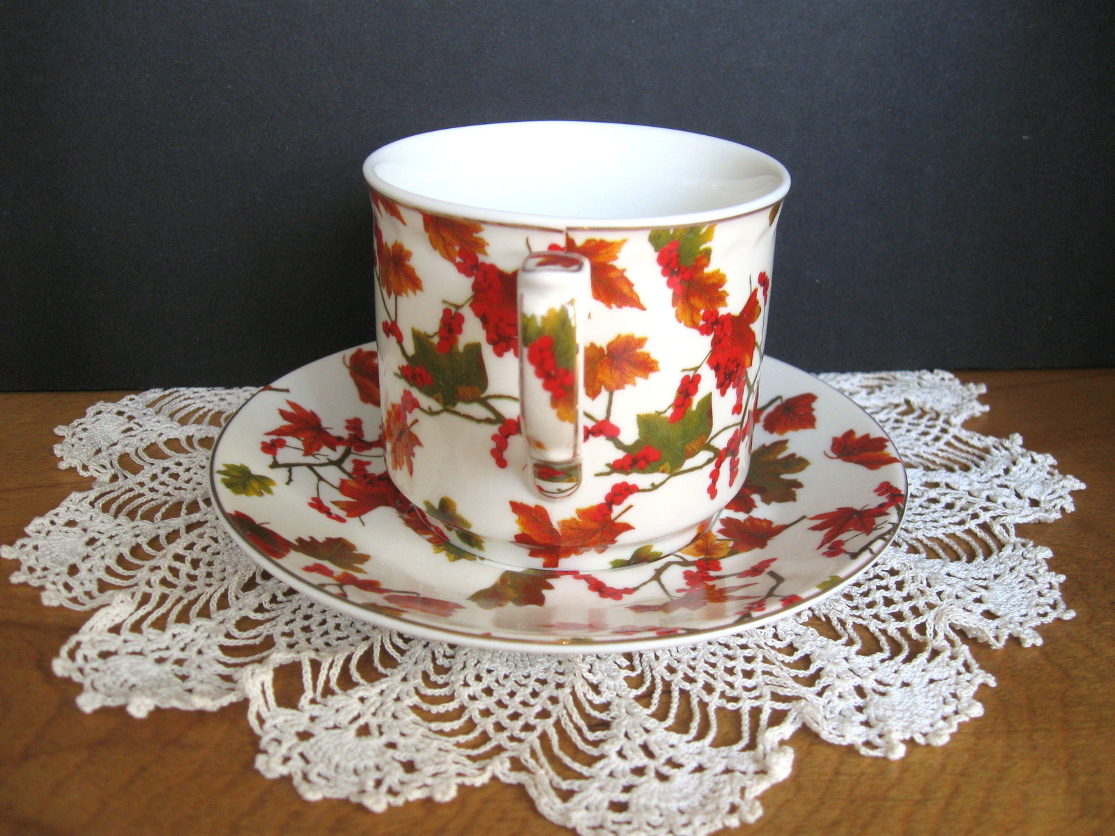 Autumn Leaves Cup and Saucer Set - Four (4) Available