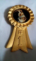 Vintage Signed JJ Jonette Gold Ribbon #1 Award Add Pet or Any Photo Pin ... - $4.75