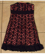 NWT BETSEY JOHNSON Black & Pink Silk Crochet Dress Sz 6 NEW (MAKE AN OFFER) - $155.03