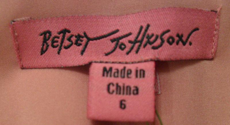 NWT BETSEY JOHNSON Black & Pink Silk Crochet Dress Sz 6 NEW (MAKE AN OFFER)