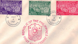 Republic of The Philippines 1st Anniversary 1947 First Day Cover - $2.95