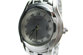 Auth GUCCI 5500L Silver Dial, Date Stainless Steel Quartz Women's Watch ... - $210.00