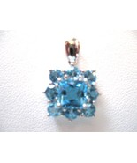 PENDENT, 14K BLUE TOPAZ, SET IN WHITE GOLD. GET A FREE GIFT!! - $84.00