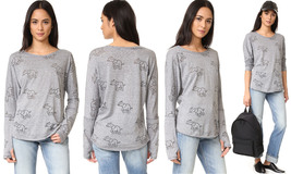 Terez Women's Burnout Elephant Long Sleeve Top, Grey-Trunks Up-809