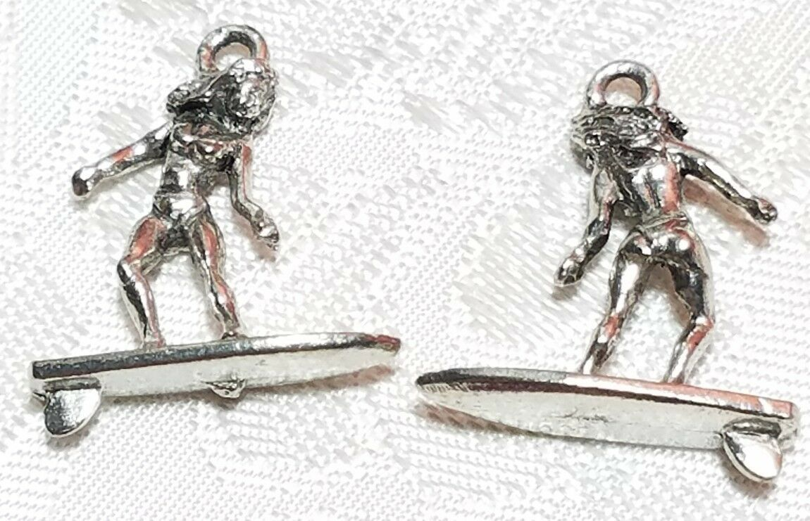 SURFER GIRL FINE PEWTER PENDANT CHARM - 19x25x6mm