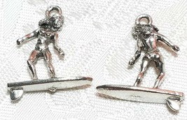 SURFER GIRL FINE PEWTER PENDANT CHARM - 19x25x6mm image 1