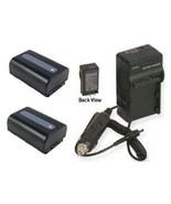 Two Batteries + Charger for Sony NPFV30 NPFV40 NPFV50 HXR-MC50U HXR-MC50E - $58.47