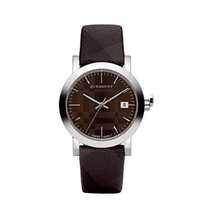 Burberry BU1775 Womens Watch Swiss Smoked Check Brown Fabric Strap  - $264.53 CAD
