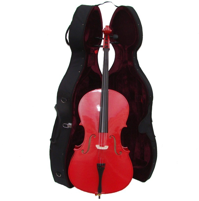 Crystalcello MC150RD 4/4 Size Red Cello with Case,Bag,Bow