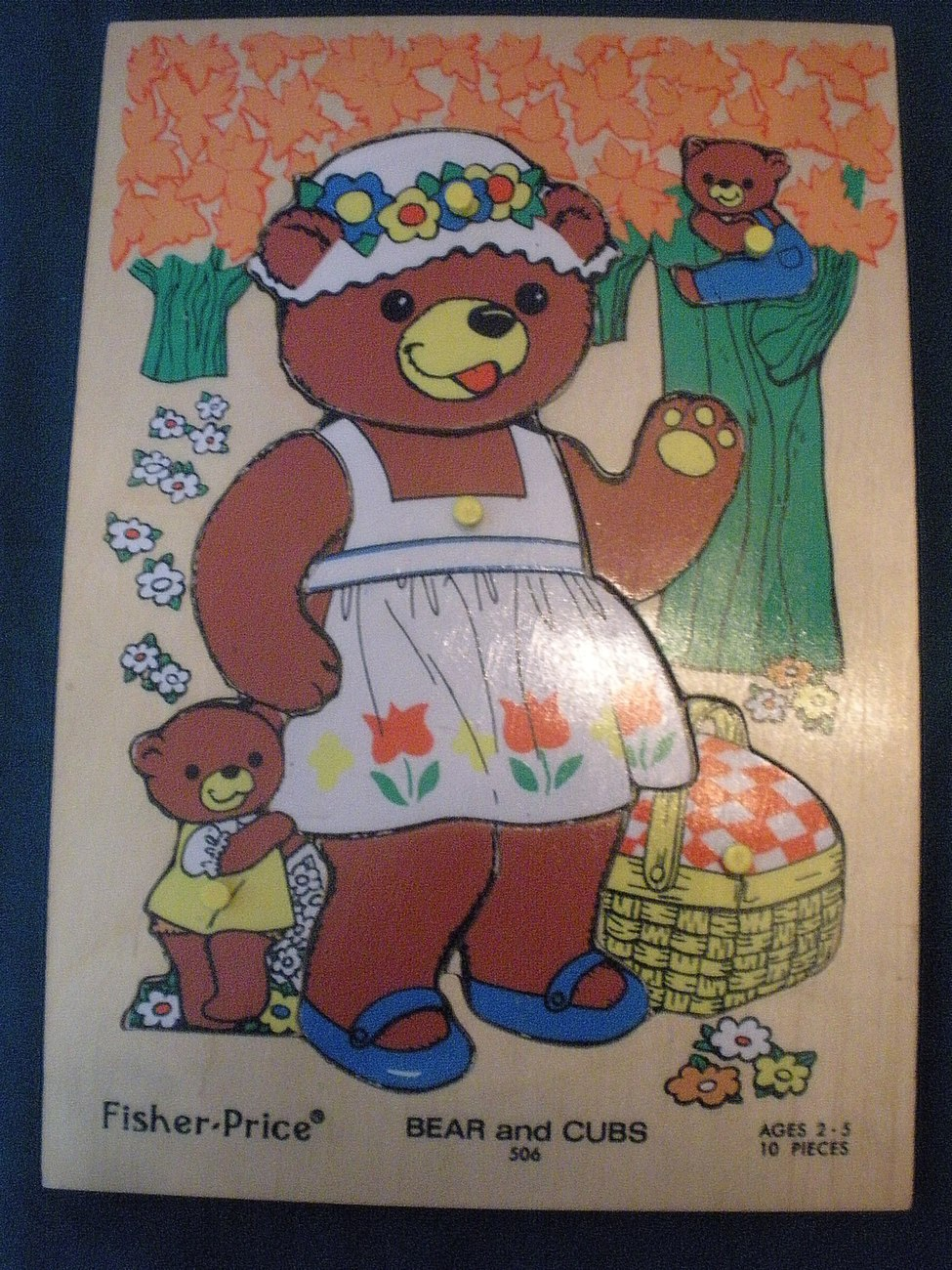 Vintage Fisher Price #506 Bears and Cubs Pick Up 'N Peek Wood Puzzle EXC-EXC++!