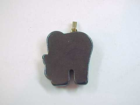 Hematite Elephant Pendant with Clear Rhinestone Eye