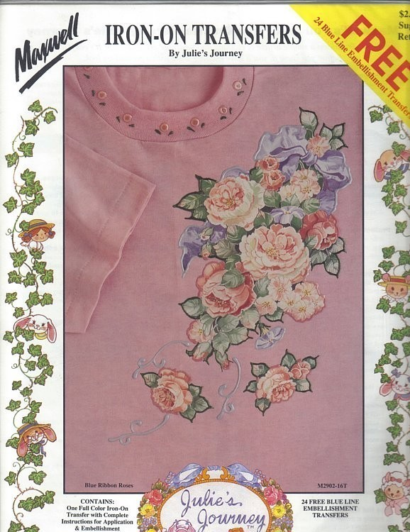 Primary image for Maxwell Blue Ribbon Roses Iron-on Transfers