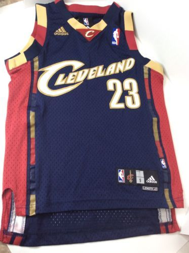 60343ecd6 12. 12. Previous. Adidas NBA LeBron James 23 Cleveland Cavaliers Blue Red  SEWN Jersey YOUTH Small