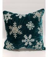 """GORGEOUS 34th & Pine Teal Green Velvet Snowflake Beaded Throw Pillow 18""""... - $49.99"""