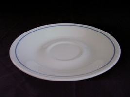 Corelle Queens Lace Saucer White Blue Band - $2.00