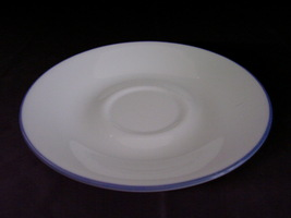 Corelle Fruit Basket Fruit Too Saucers White Blue Band - $2.00