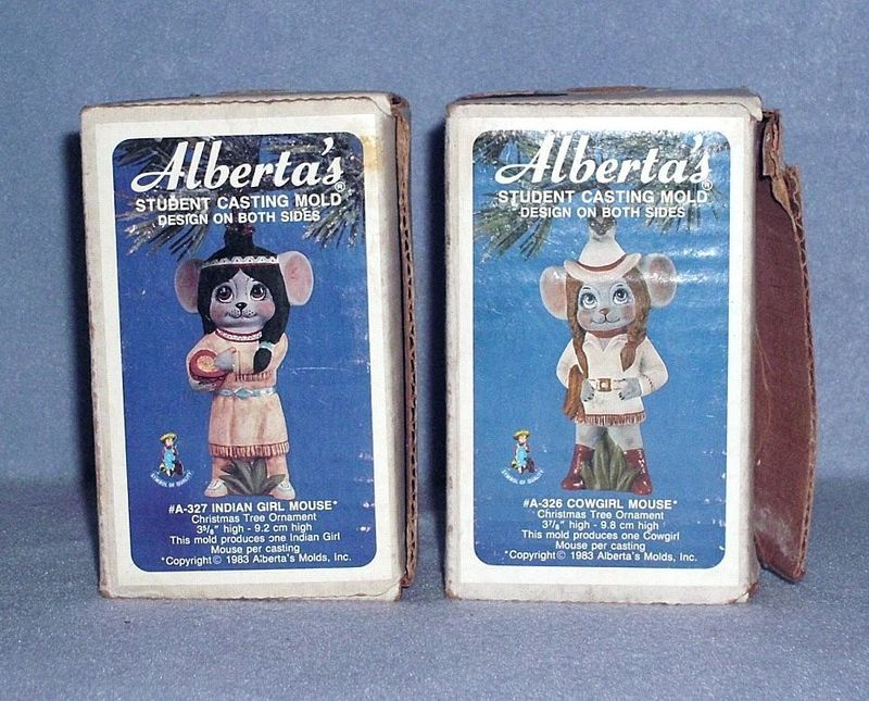 Alberta's 2 Casting Molds Cowgirl Mouse and Indian Girl Mouse Ornaments 1983