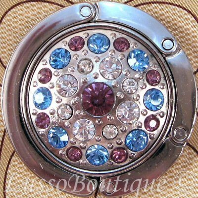 Primary image for Crystal Handbag Holder Purse Hook Blue Purple Clear Free Organza Bag