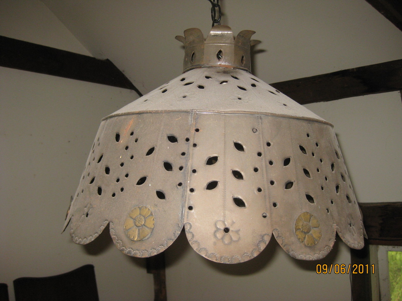 Vintage Pierced Tin hanging light fixture