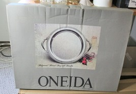 "14.5"" Vintage Oneida Silverplate Ridgewood Round Tray With Handles New In Box - $85.00"