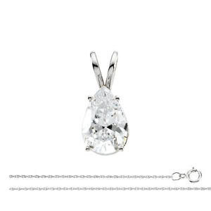 Pear Diamond Solitaire Pendant Necklace 0.74 Ct G SI2
