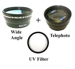 Wide Lens + Tele + UV for Sony HDR-CX130 HDR-CX130B HXR-MC2000E HXR-MC2000