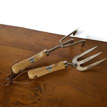 Laura Ashley Gardening Tools Trowel Fork Wood Handle Stainless Steel Set... - €20,27 EUR