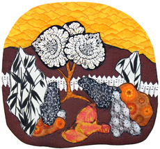 Garden in Orange: Quilted Art Wall Hanging - $390.00