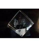 Crystal Paperweight, 3D Images, Music Notes, by... - $30.00
