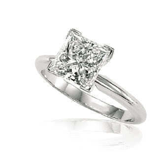 Princess Diamond Engagement Ring 3.01 Ct E SI3 EGL Cert