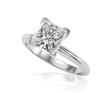 Princess Diamond Engagement Ring 3.01 Ct E SI3 EGL Cert