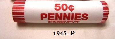 Primary image for 1945-P Circulated Lincoln Wheat Cent Roll