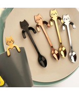 5Pcs Cute Cat Spoon Long Handle Spoons Flatware Drinking Tool Kitchen BLACK - $20.00